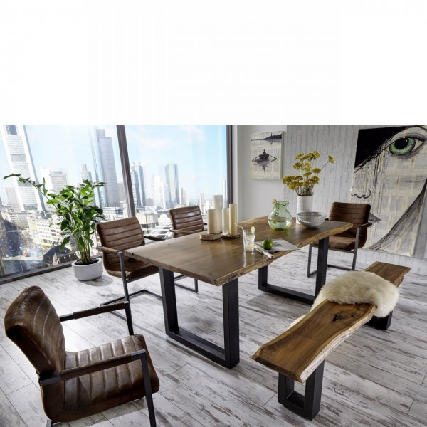 Esstisch Queens aus massivem Akazienholz mit echter Baumkante - 180x90 cm