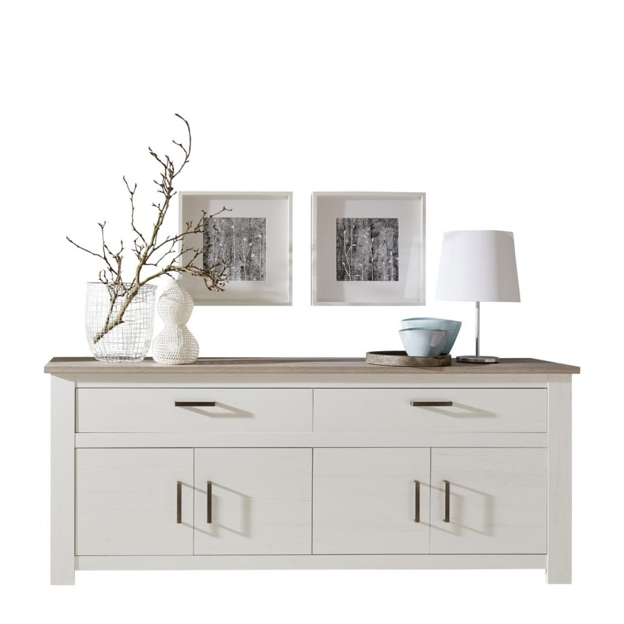 sideboard lotte pinie wei nelson eiche landhausstil. Black Bedroom Furniture Sets. Home Design Ideas