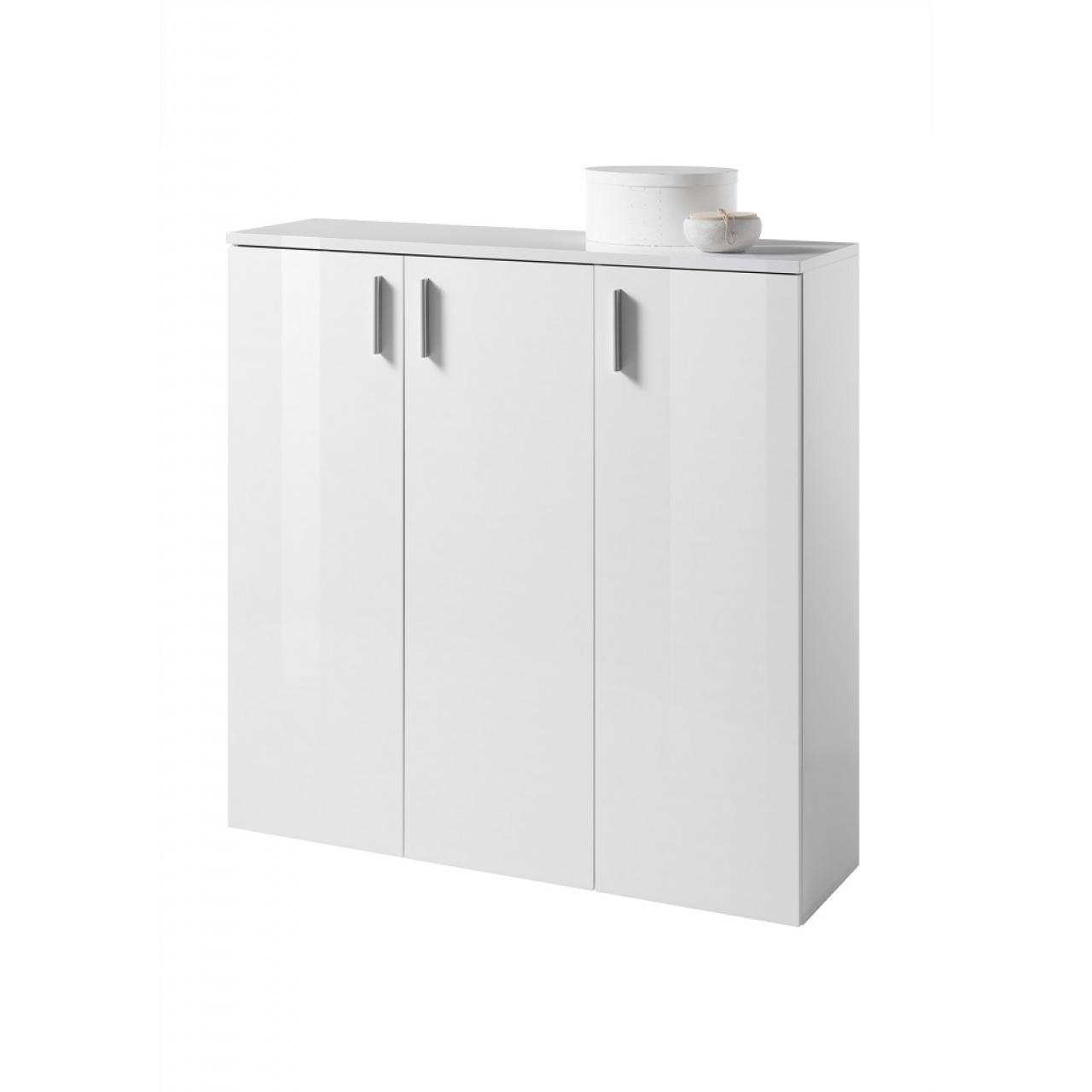 Schuhschrank Lincoln Weiß Garderobe Weiß Glanz Flur Diele Schrank 3 Türen