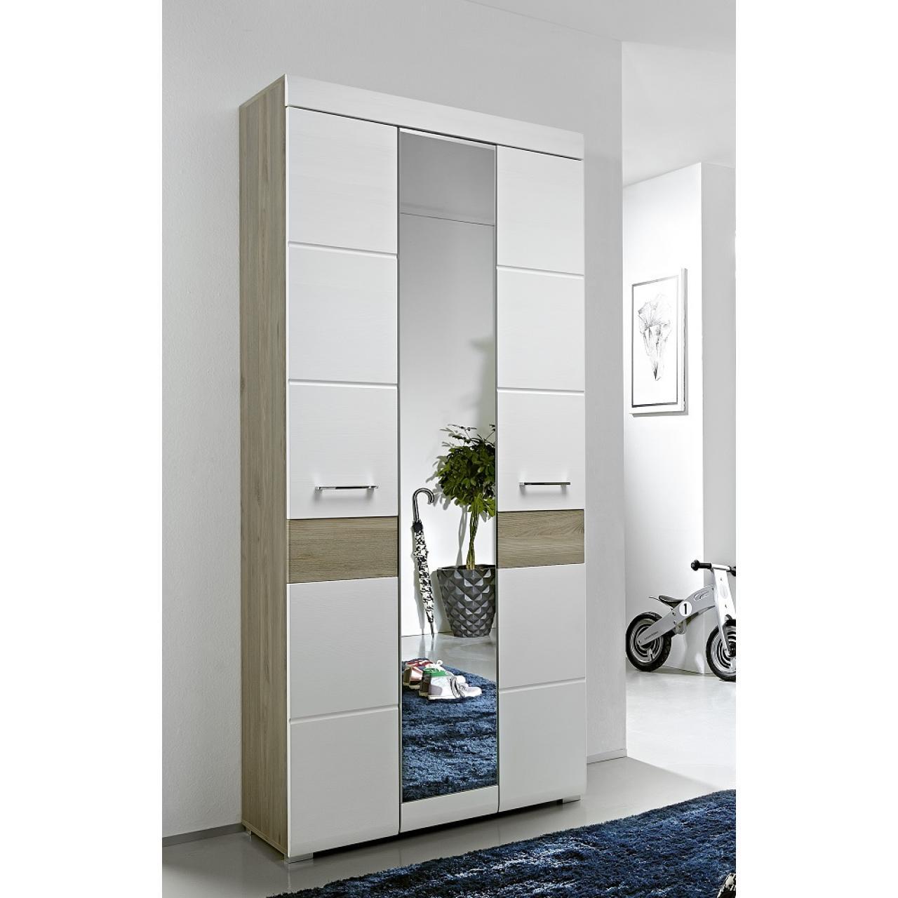 Garderobenschrank Funny 1 Spiegeltür 2 Holztüren 6 Böden Flur Diele MDF Weiß
