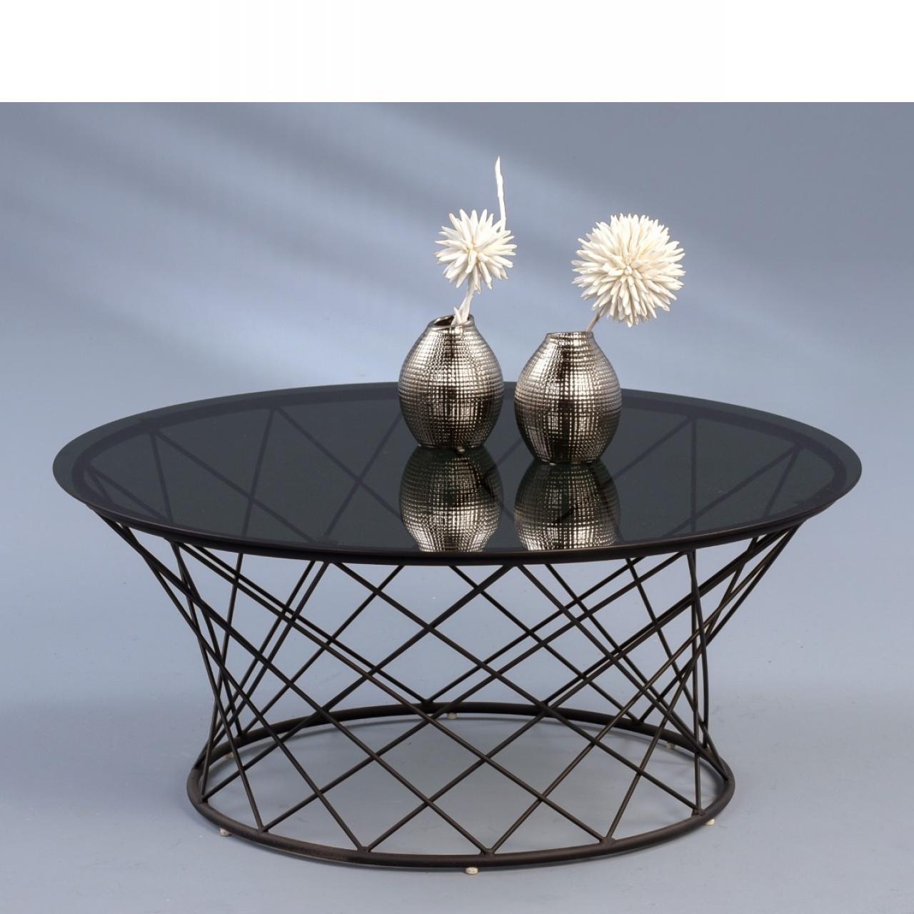 Couchtisch Noa schwarz/grau rund Glasplatte Metallgestell 80 cm