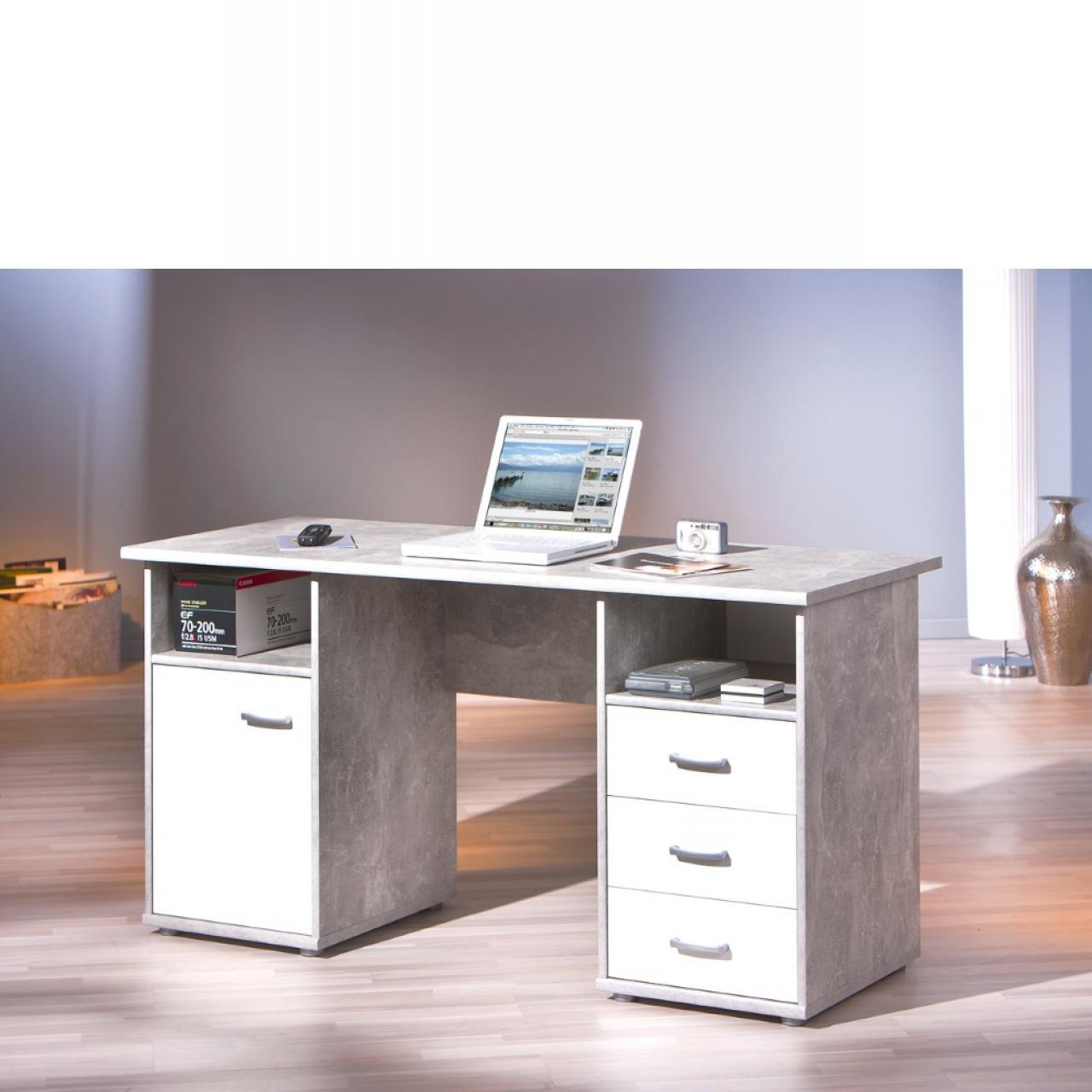 Schreibtisch - Florus - Beton/weiß