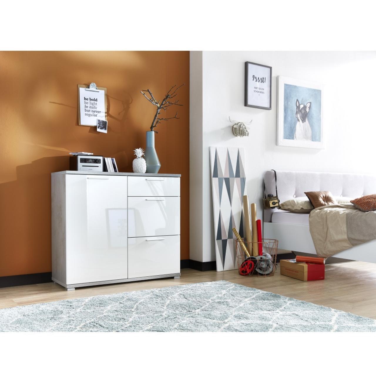 kommode almeria | beton - weiß | 3 schubkästen | 1 tür | möbel