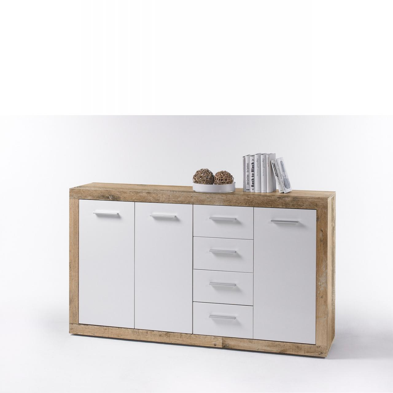 Kommode 3 Sassari 3 Türen 4 Schubladen MDF Old Style Hell Weiß Glanz Schrank