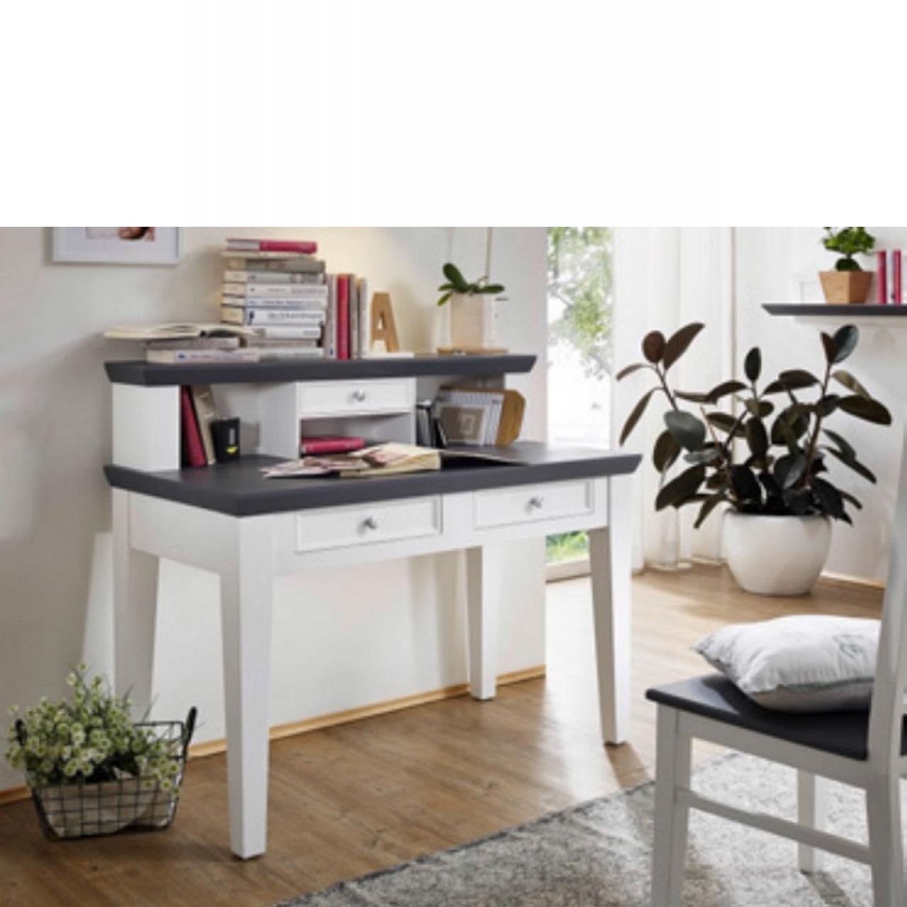 Schreibtisch mit Aufsatz aus Paulowniaholz