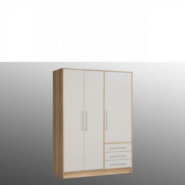 Kleiderschrank Jupiter Schrank Drehtürenschrank Sonoma Weiß 145x200 cm