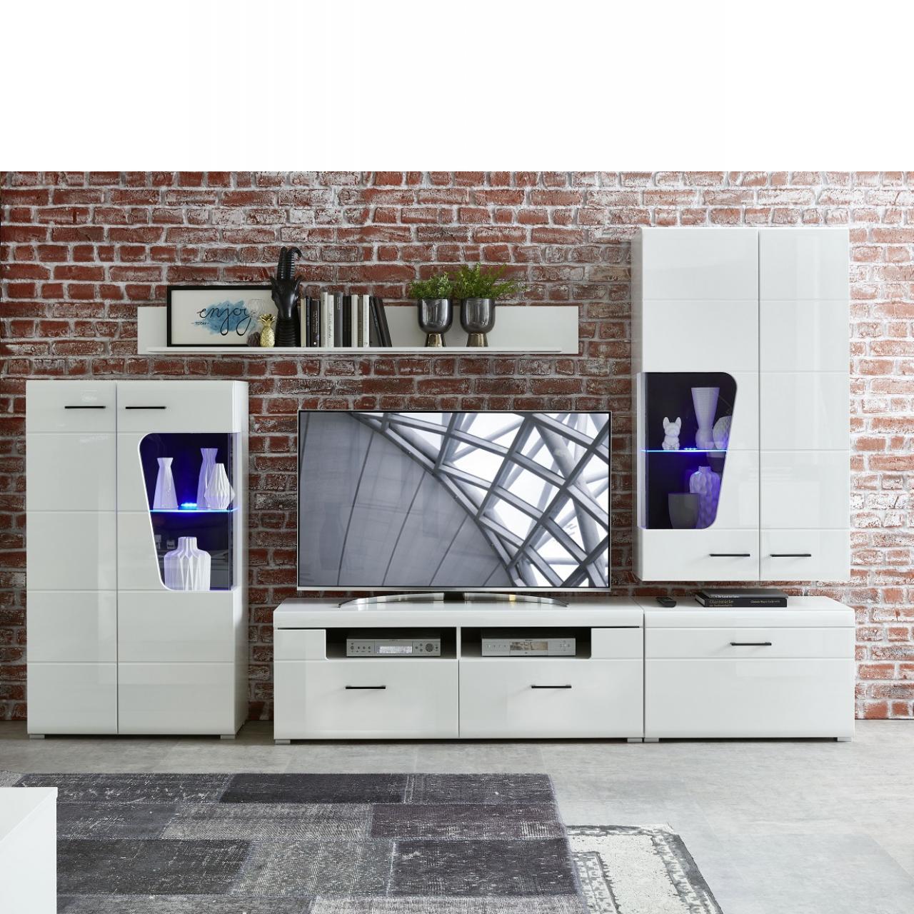 TV-Wohnlösung Funny Plus Weiß Hochglanz 4-teilig inkl. LED-Beleuchtung Wohnwand