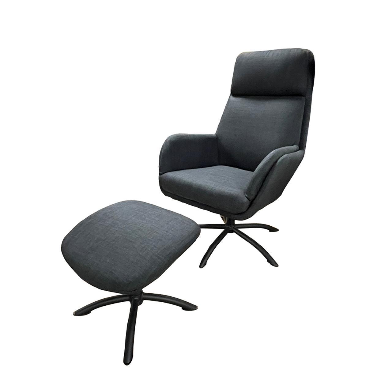 Relaxsessel FM-438 in Anthrazit mit Fußhocker 360° Drehbar Fernsehsessel Sessel