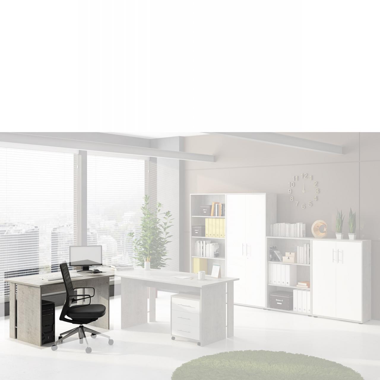 Schreibtisch Omega Beton Optik - mit Eckplatte