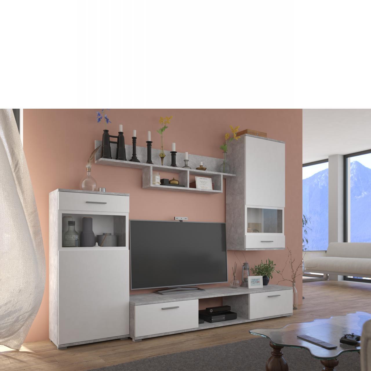 Wohnwand Blues 4 Tlg. Set Weiß Laminat Beton Tv-Lowboard Modern Anbauwand