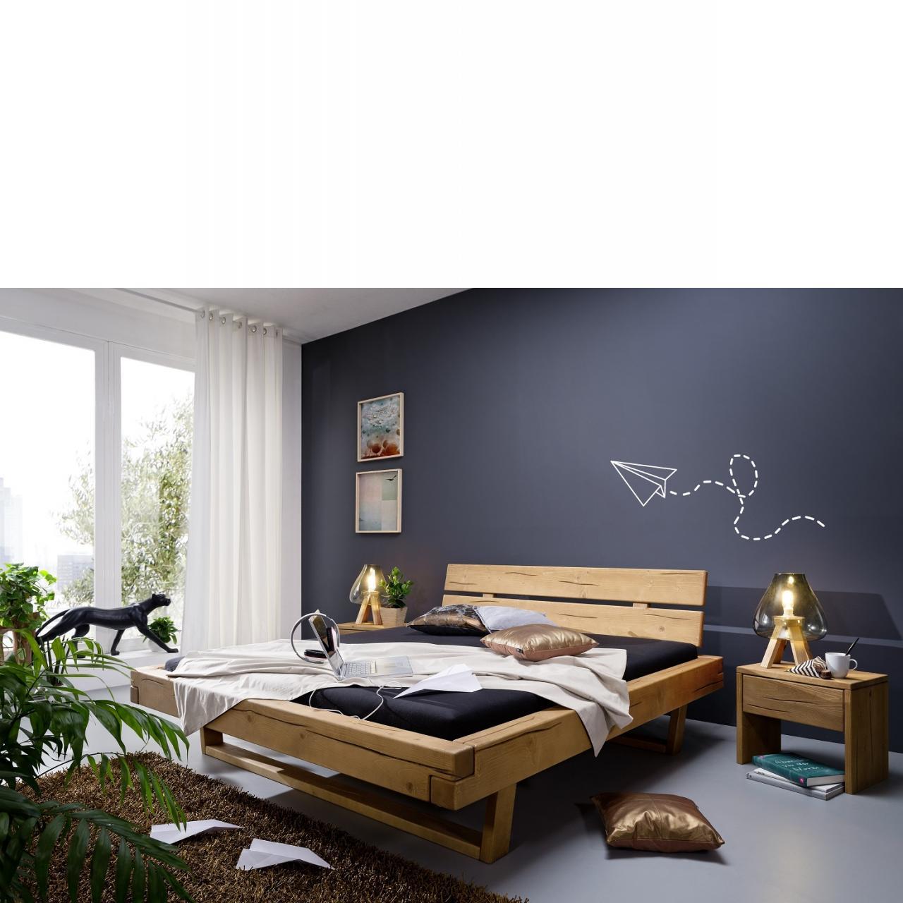 Bett BE-0280 Kiefer Massiv Honig Eiche Geölt Schlafzimmer 180x200