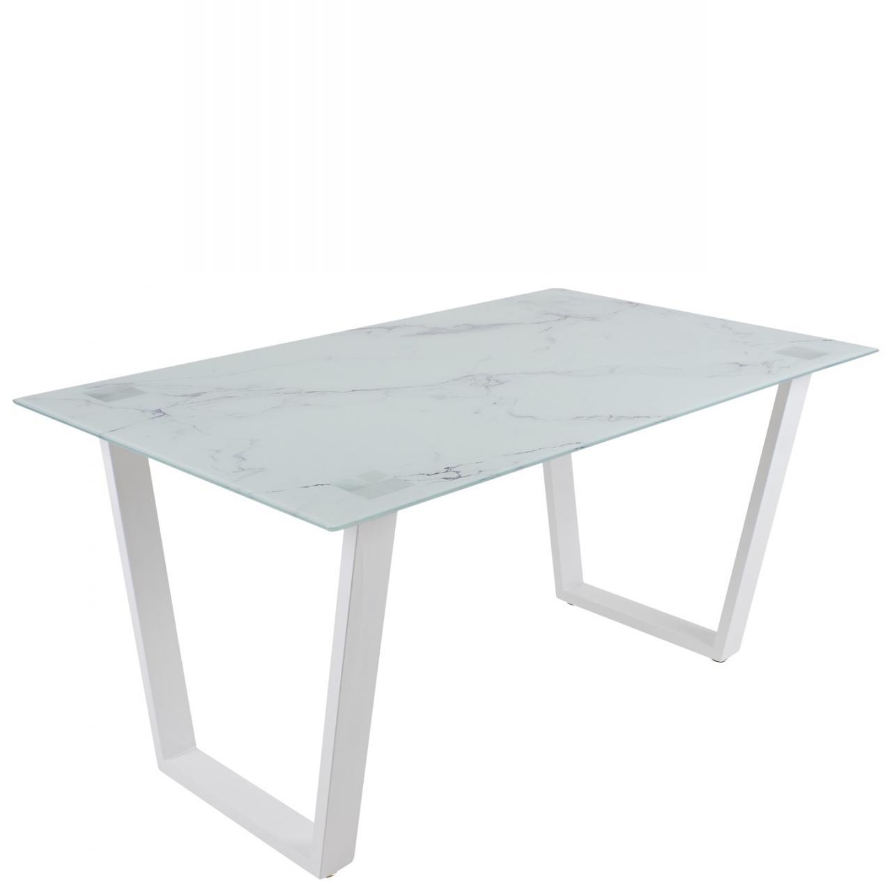 Esstisch Paolo Weiß Lackiert Marmorlook Glas Küchentisch Esszimmer Tisch 150 x 76 x 90 cm
