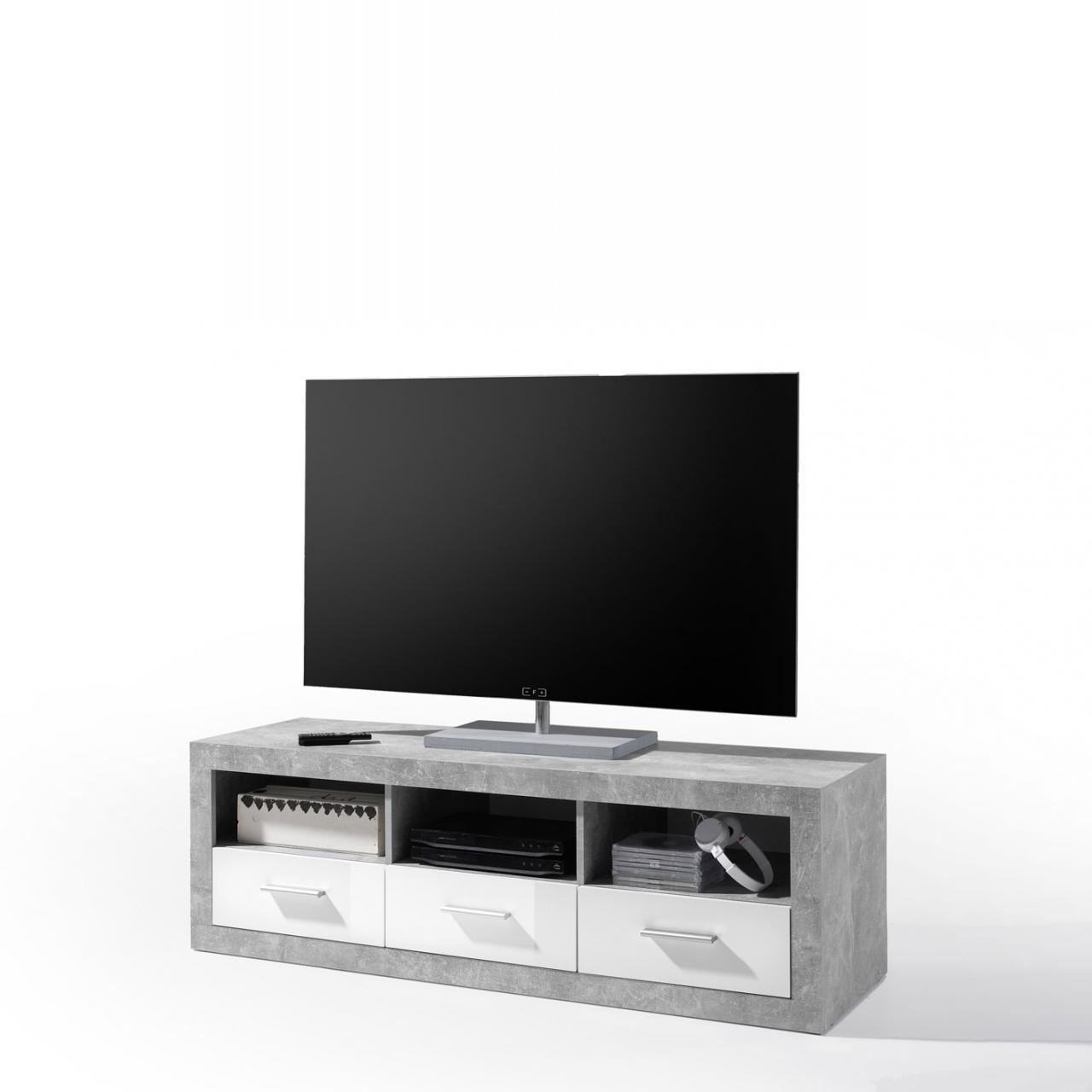 Lowboard Stone, Fernsehtisch, Fernsehschrank, Schrank, Beitisch, TV-Schrank,Weiß