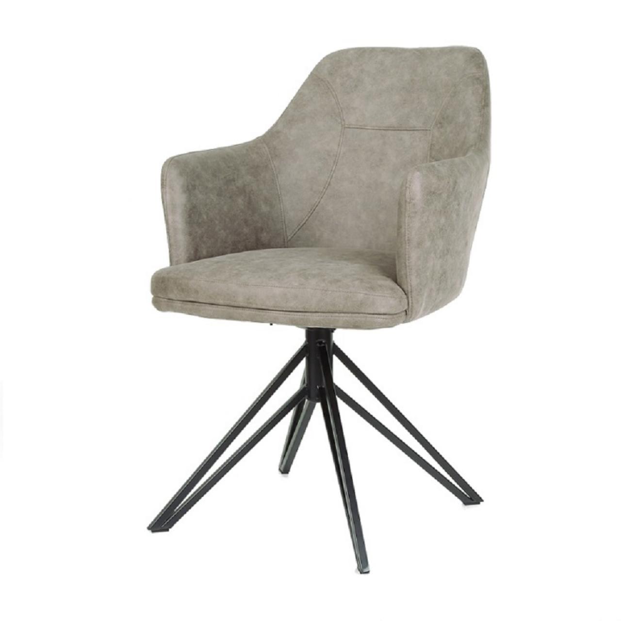 Der Stuhl Calvin mit Armlehnen in Pebble Wohnzimmer Esszimmer