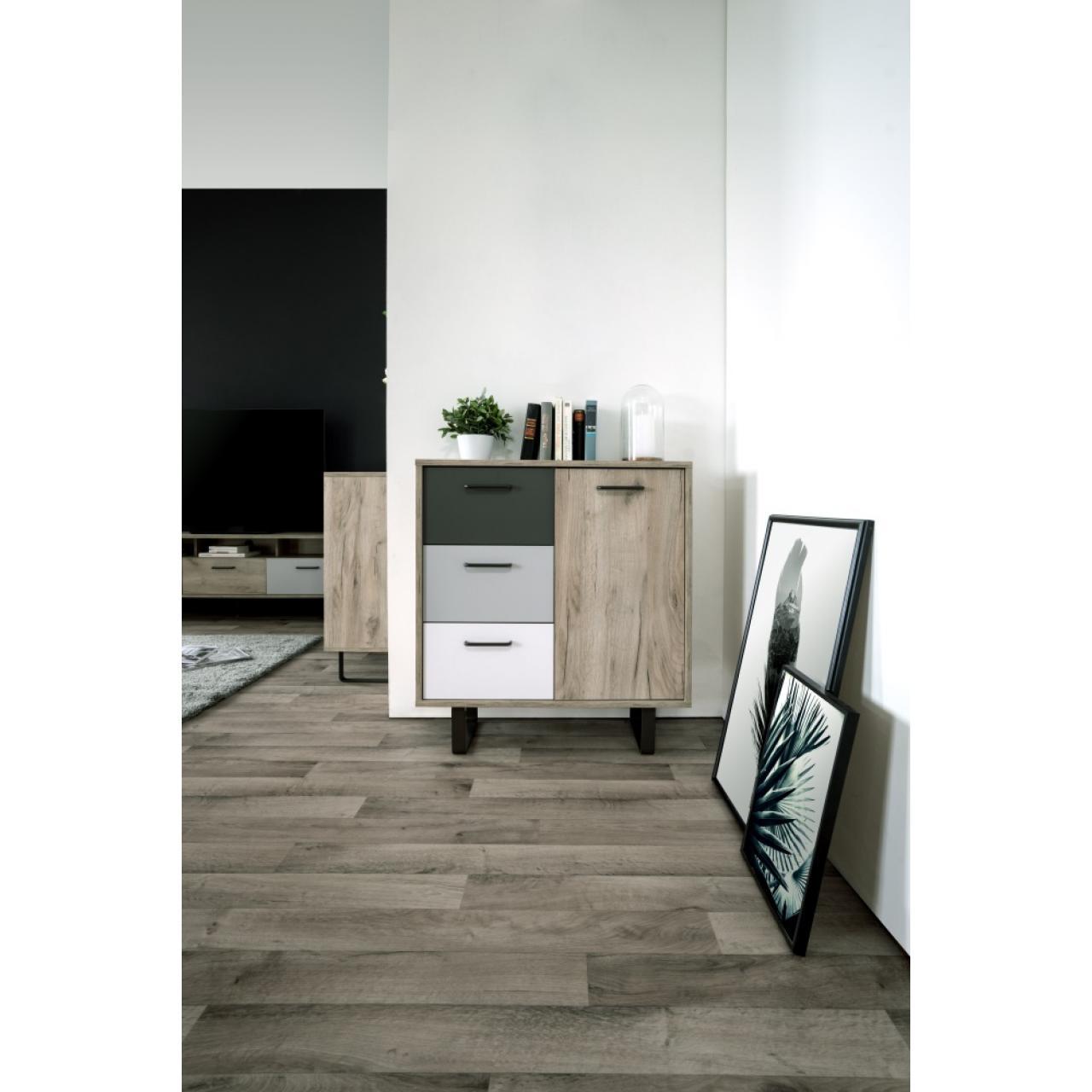 Kommode Orlando Grey Craft Oak Anthrazit Weiß Grau 1 Türen 3 Schubkästen MDF