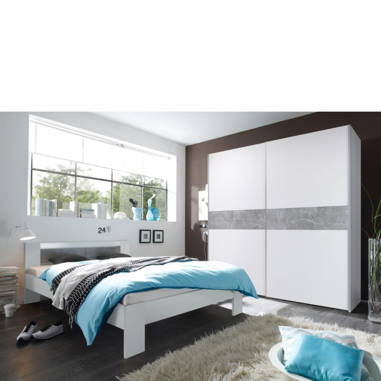 Futonbett - Vega - weiß/beton