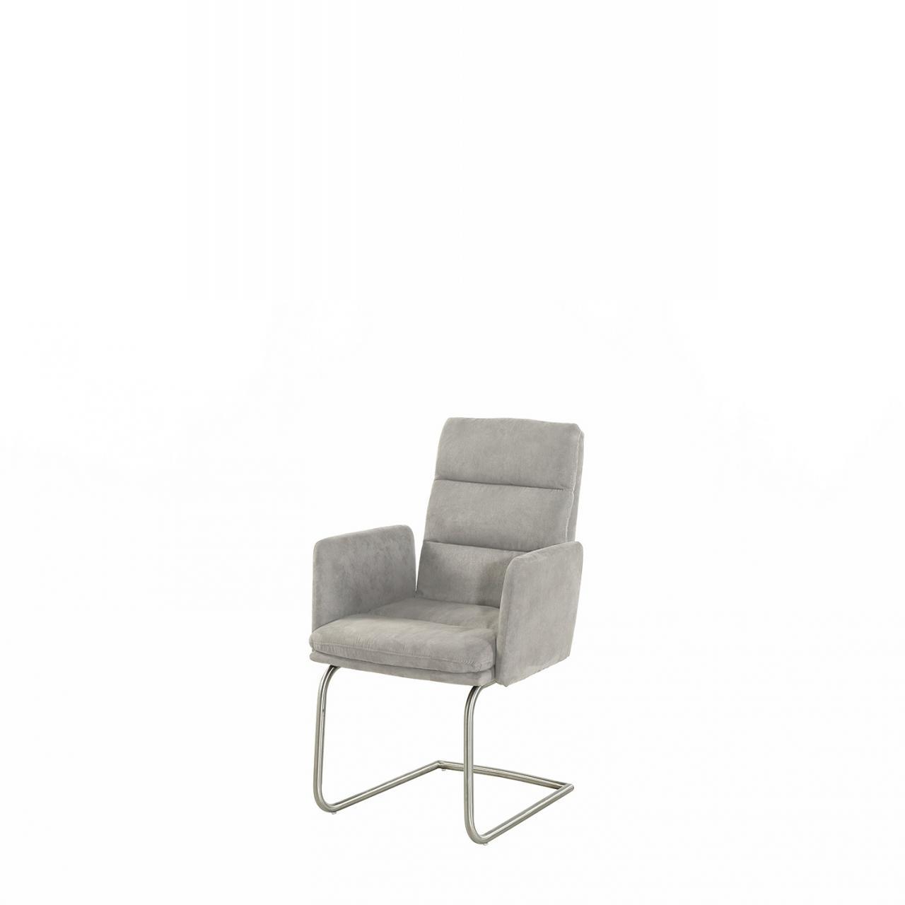 Schwingstuhl Jack 2 Mit Armlehne Grau Esszimmerstuhl Küche Stoff Stuhl