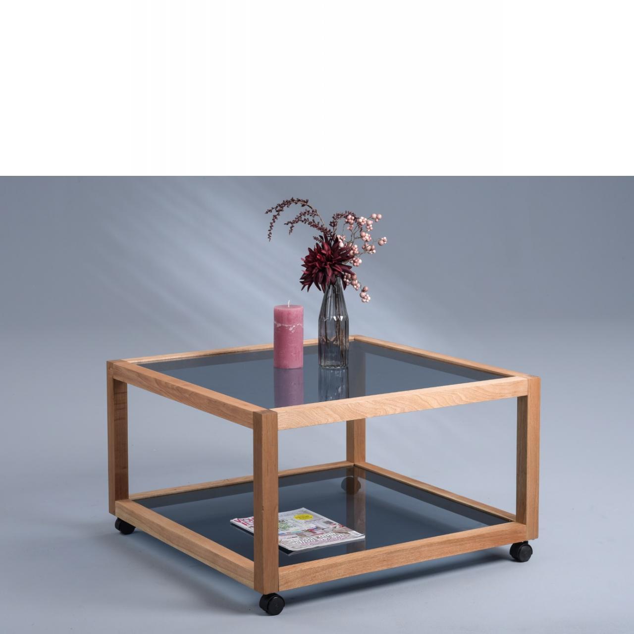 Couchtisch Manila 3 auf Rollen 78x78 cm Glas Massivholz Walnuss