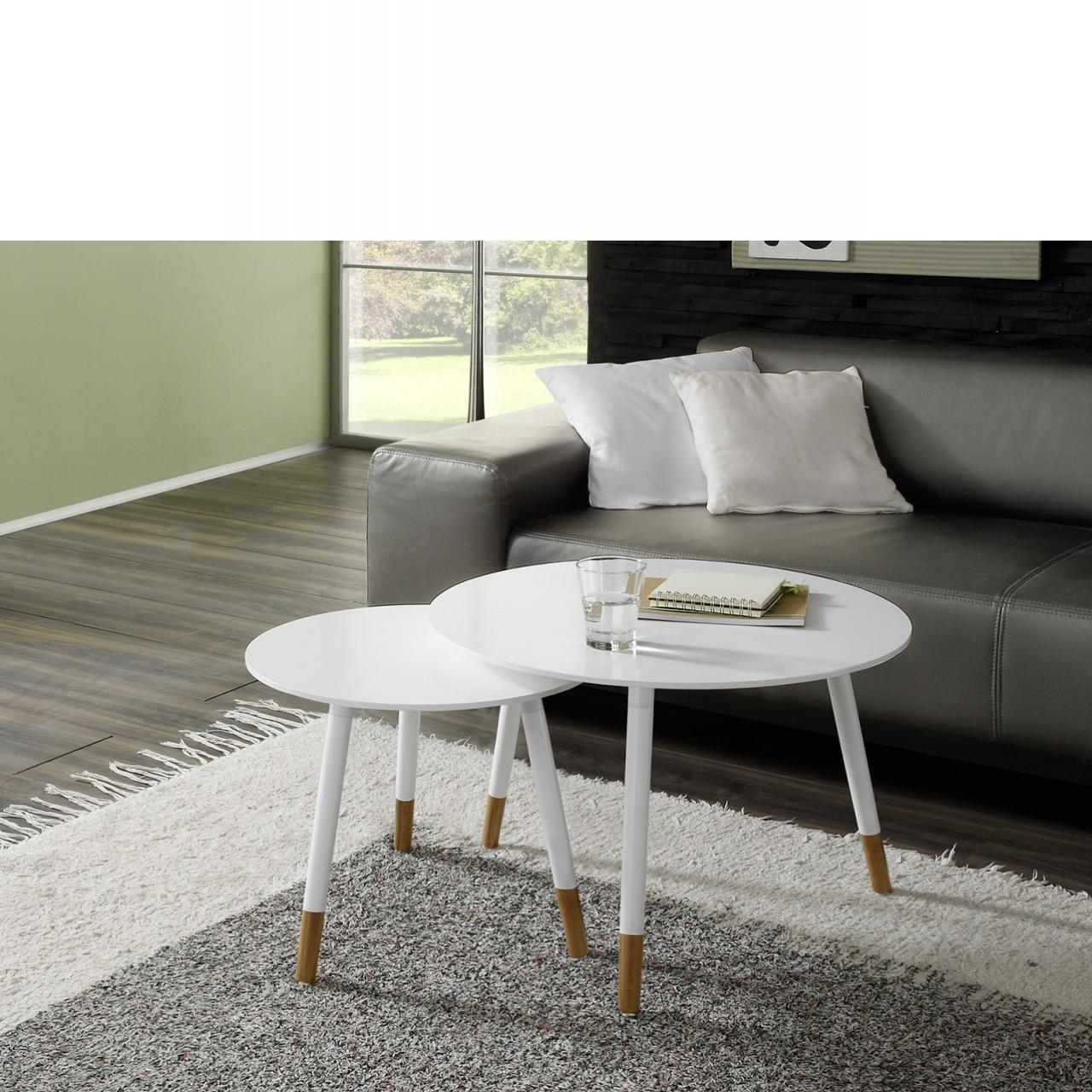 2er Set - Beistelltisch in weiß - Retro-Style