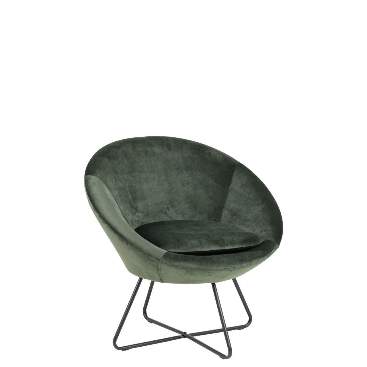 Loungestuhl Center 78549 Waldgrün Schwarz Stoff Metall Retro Sessel Stuhl