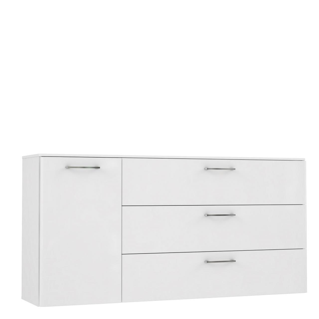 Sideboard Babila Weiß Hochglanz Weiß Anrichte Kommode 1 Tür 3 Schubkästen