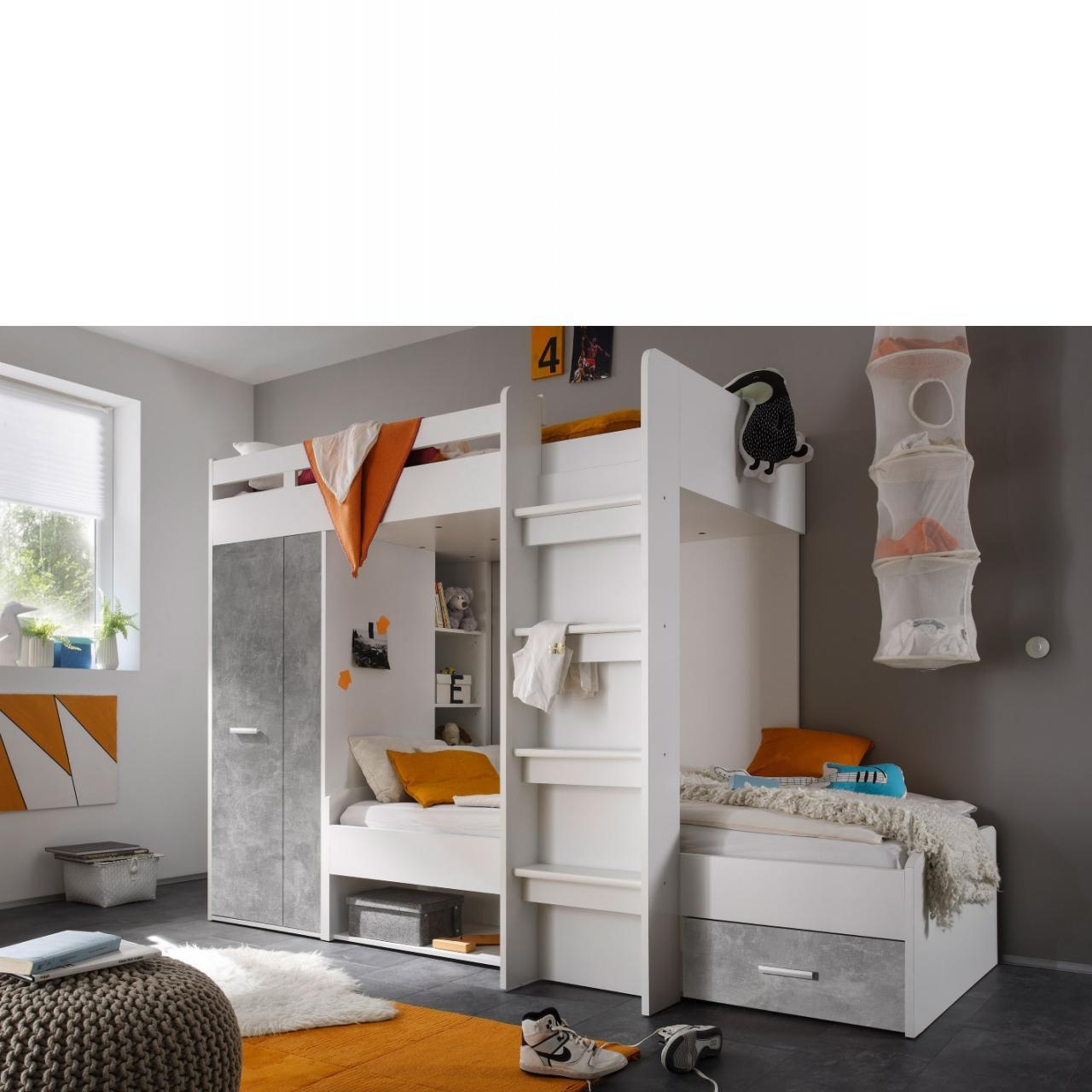 Hochbett Maxi - Beton/Weiss
