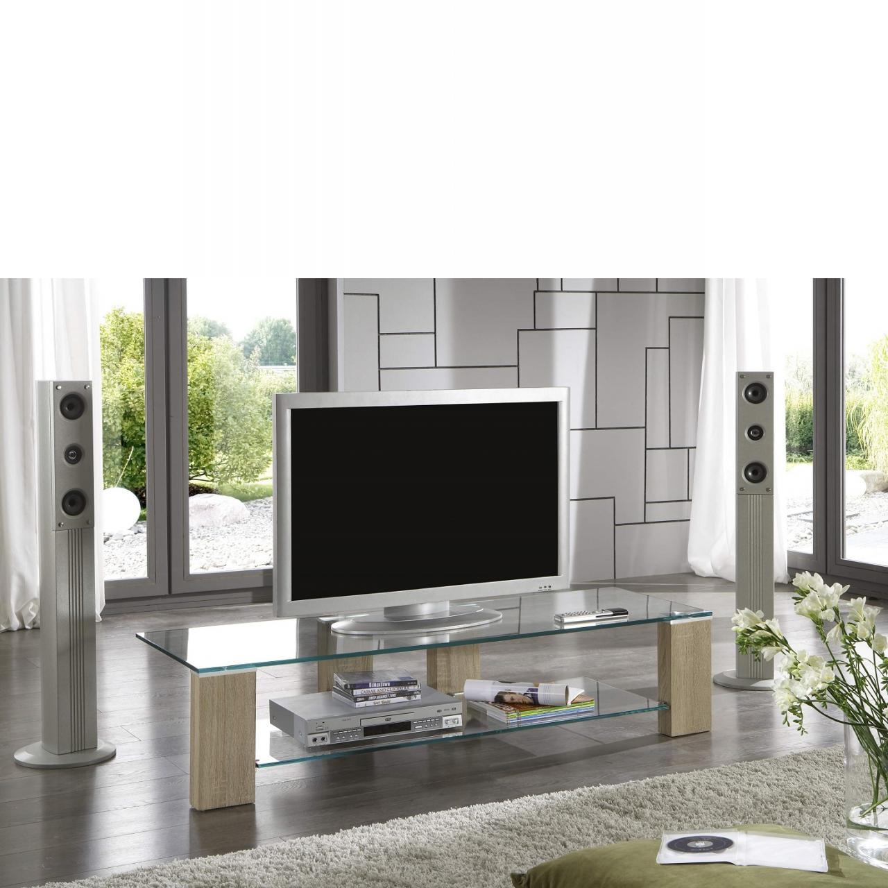 Phonotisch Look Fernsehtisch Sonoma Eiche Nb. Lowboard Sicherheitsglas TV-Rack