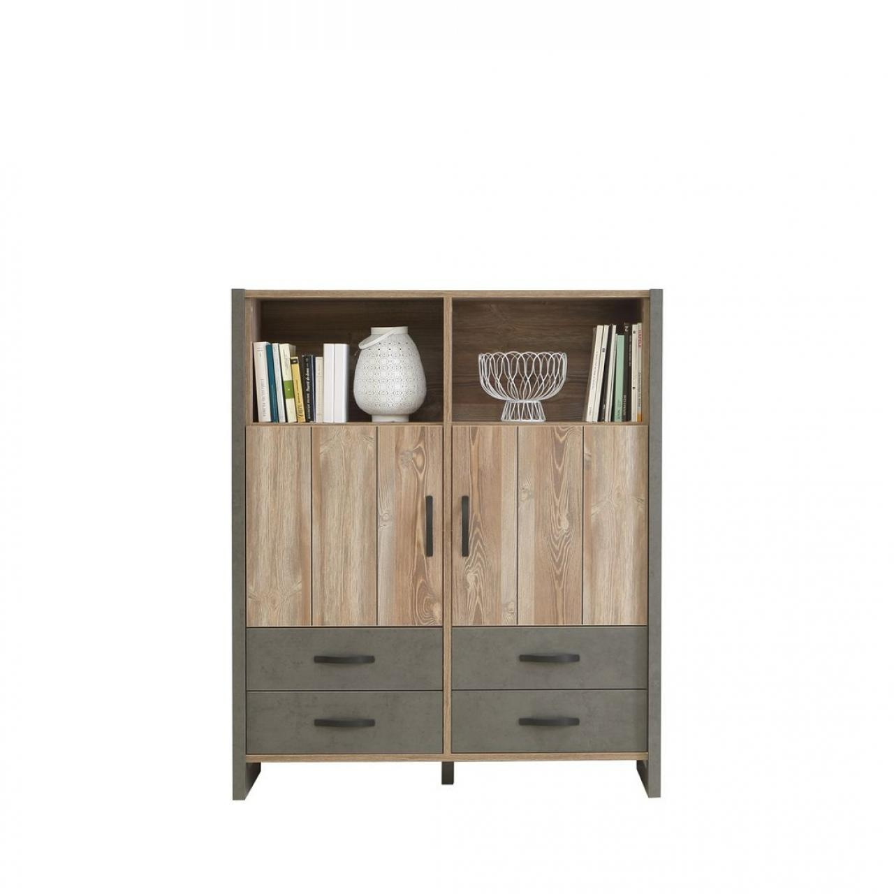 Highboard Note - Beton/Picea Kiefer
