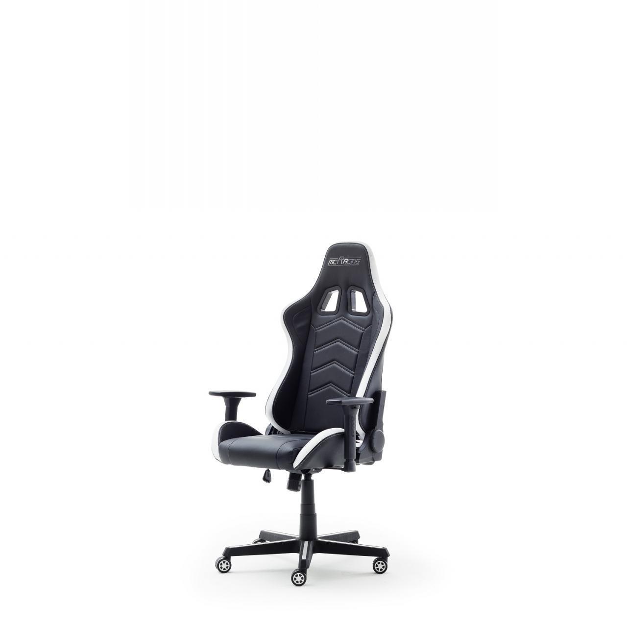 Schreibtischstuhl mcRacing LED Gamingstuhl Bürostuhl mit LED weiß-schwarz