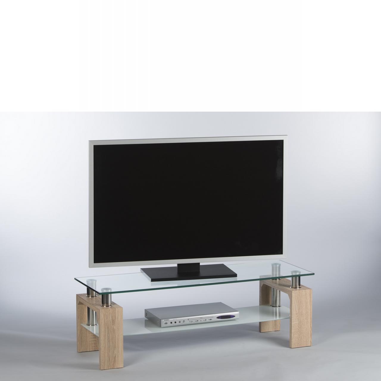 Das Tv- Lowboard Mango Sonoma Eiche 2 Glasplatten Tv-Regal Wohnzimmer