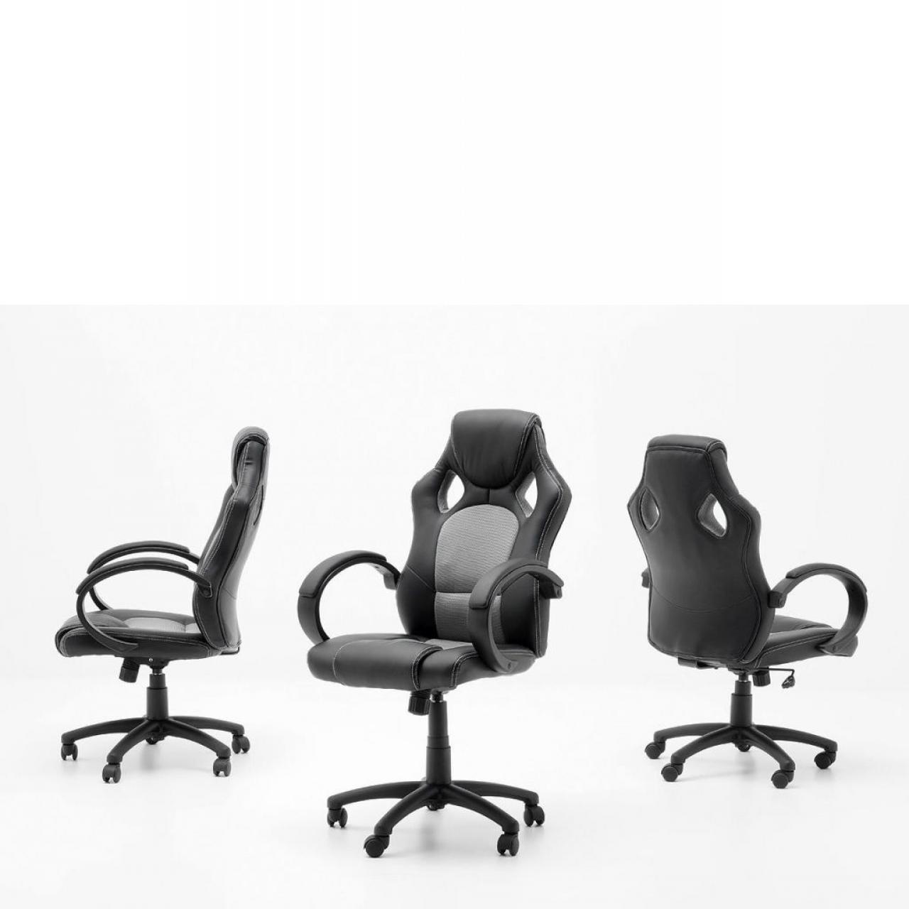 Gamingstuhl Ricky Schwarz Silber mit Armlehne Büro Drehstuhl Bürostuhl Stuhl PVC Mesh