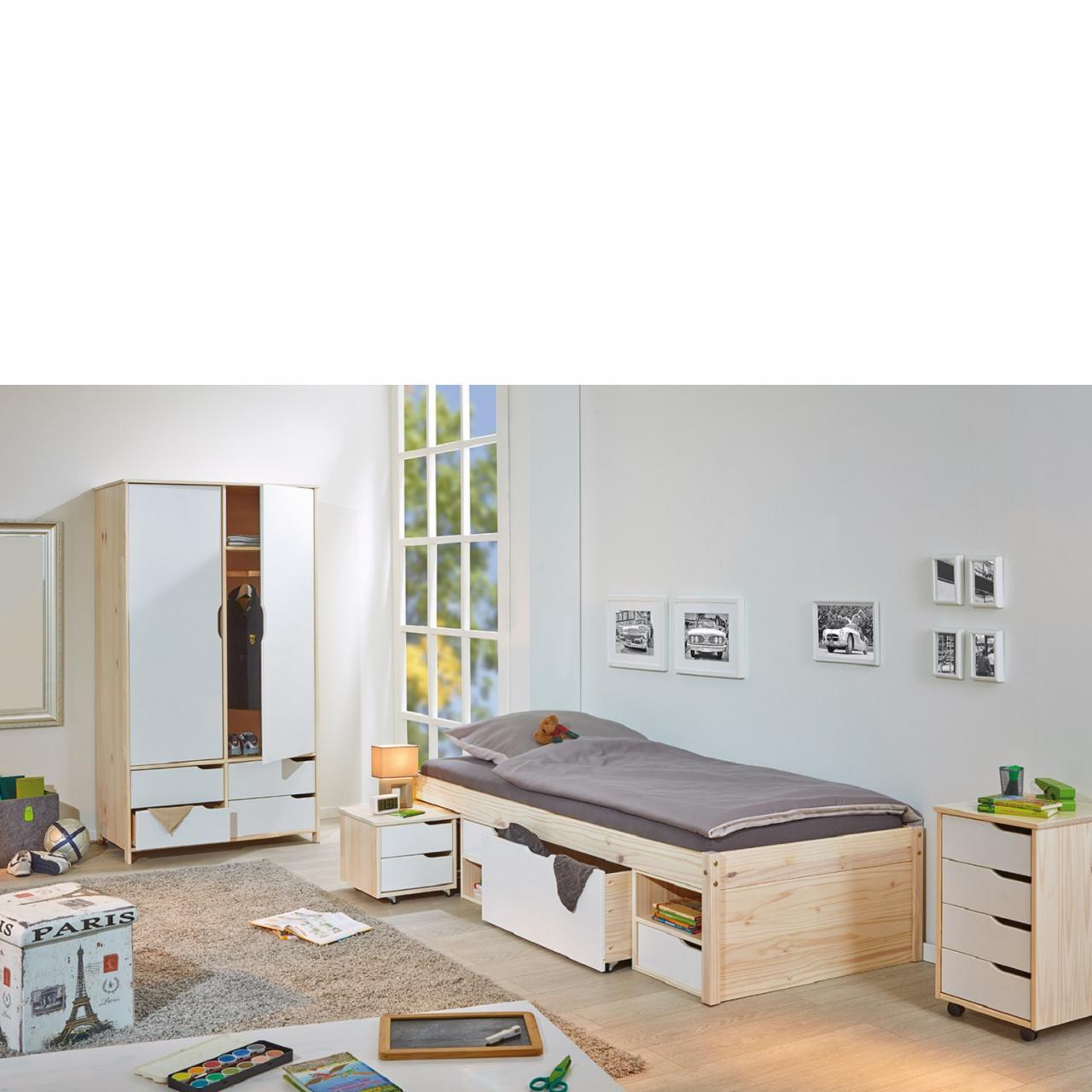 Funktionsbett Gudjam Bett 2 Schubladen 1 Roll Kommode Kinderbett Stauraumbett Gästebett