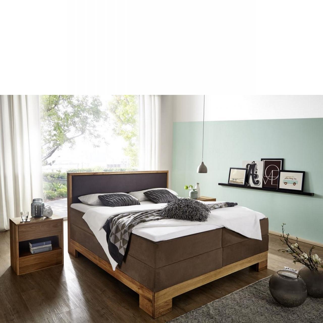 Bett braun - 180x210 cm - Wildeiche massiv