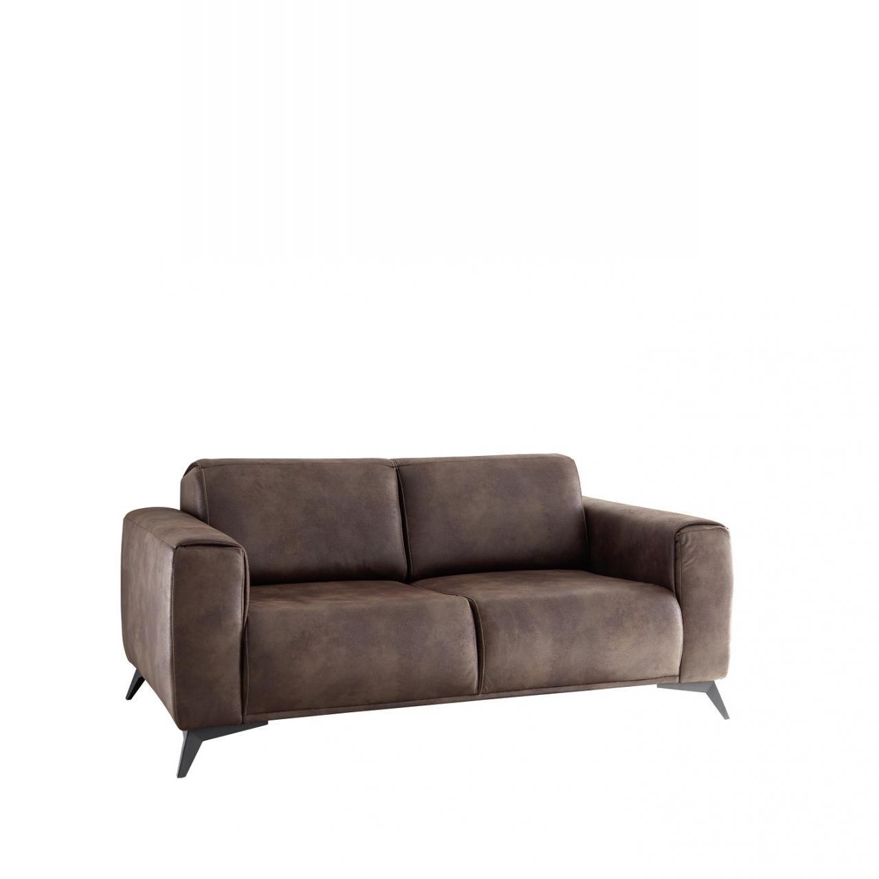 2,5er Sofa Pueblo Stoff 2,5-Sitzer Polstermöbel Maron Metall Polstergarnitur