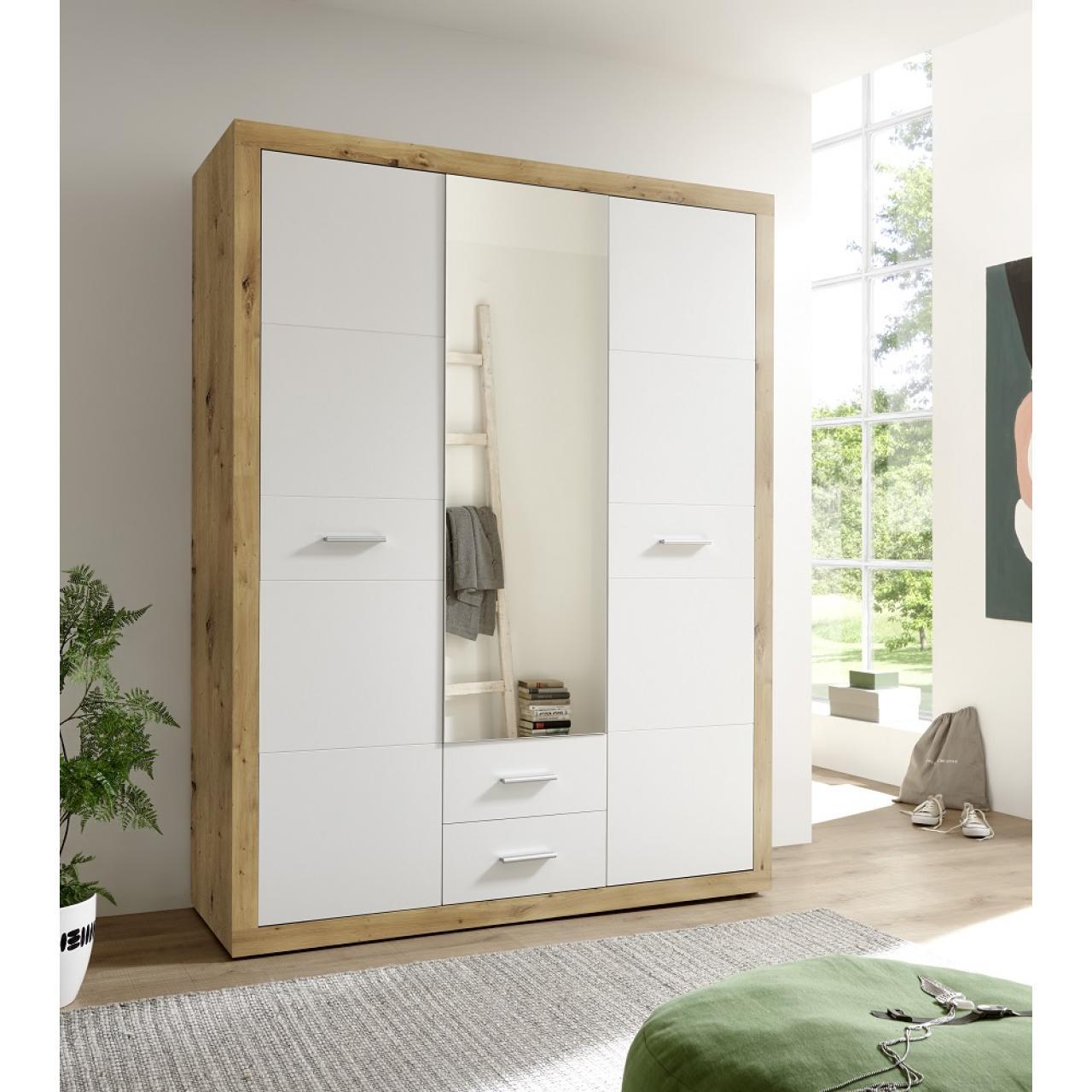 Kleiderschrank Stone Schrank Schlafzimmerschrank 3 Türen mit Spiegel 2 Schubkasten Artisan Eiche / W