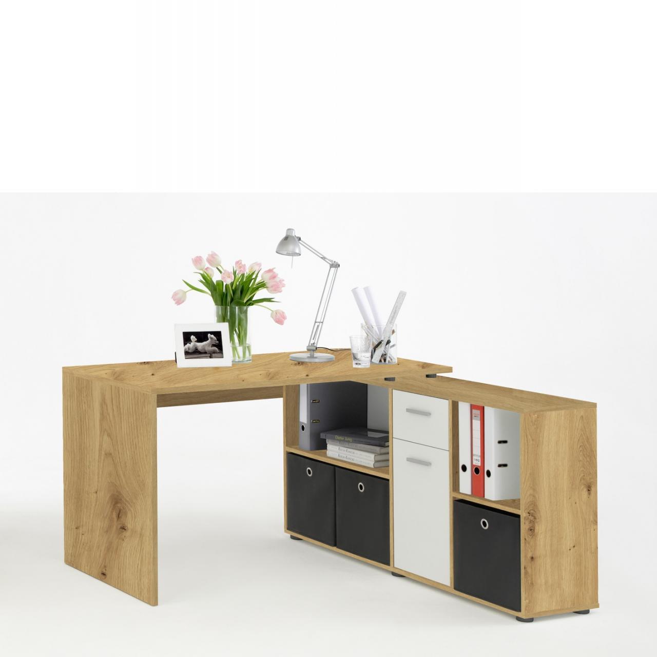 Schreibtisch Lex Artisan Eiche Nb. Weiß 4 Offene Fächer 1 Schubkasten Büro