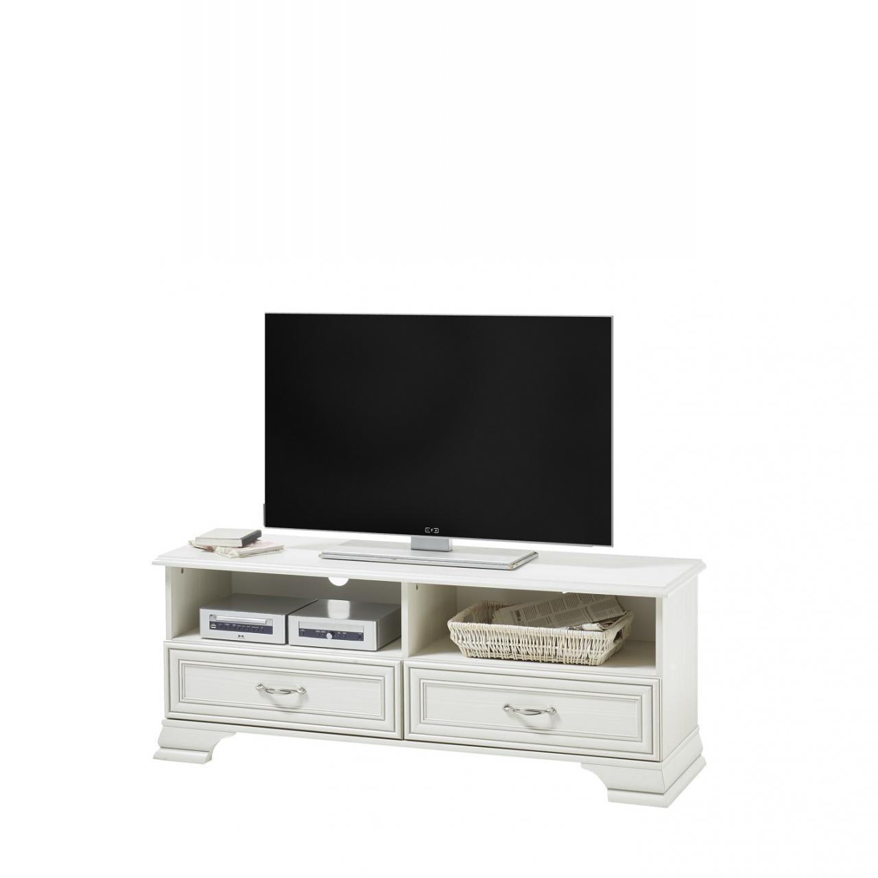 Lowboard Venedig Used White Mit Patina TV-Tisch Weiß MDF 2 Schubkästen 2 Fächer