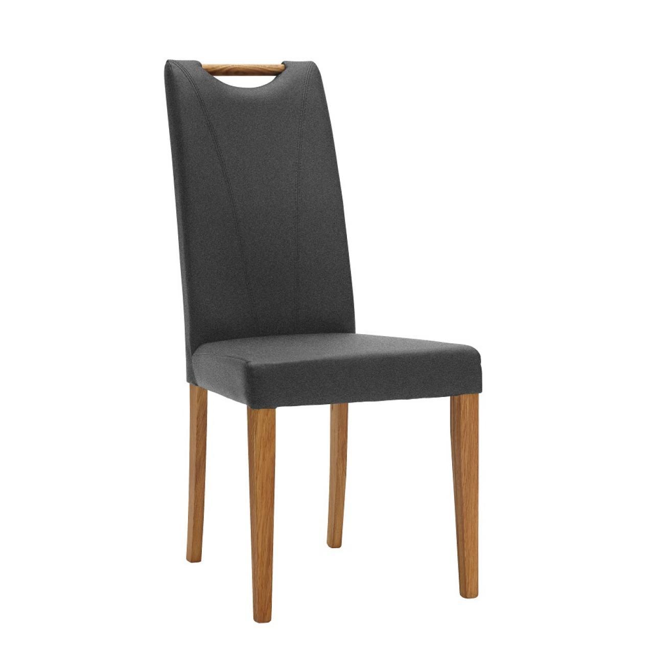 Stuhl 44 E6 Dark Grey Stoff Natur Massivholz Esszimmerstühle Küche