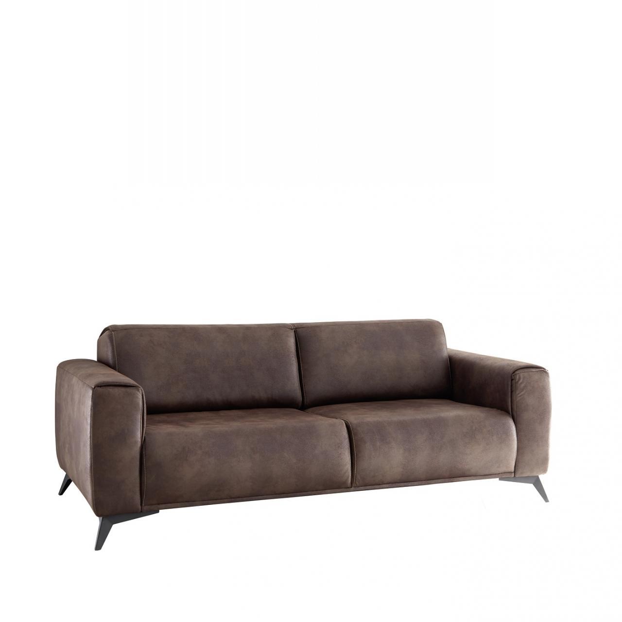 3er Sofa Pueblo Stoff 3-Sitzer Polstermöbel Maron Metall Polstergarnitur