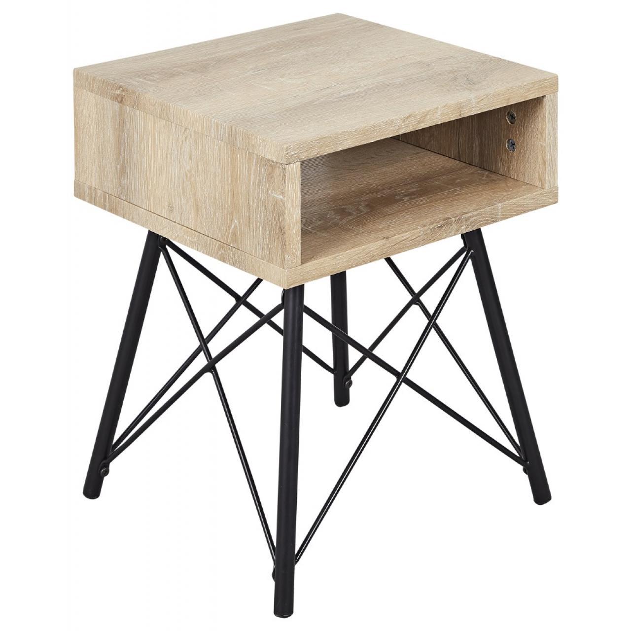 Nachtkonsole Eva 1 MDF Vintage Sonoma Nb. Schwarz 1 Fach Nachttisch Tisch Metall