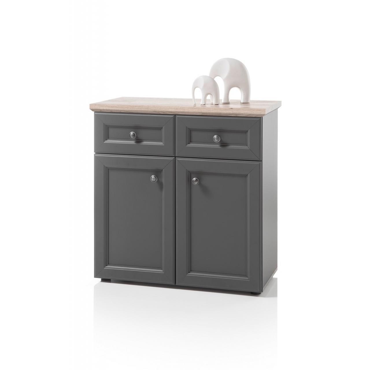 Kommode 2 Toskana Grau Timber Wood Nb. 2 Türen 2 Schubladen Anrichte Sideboard