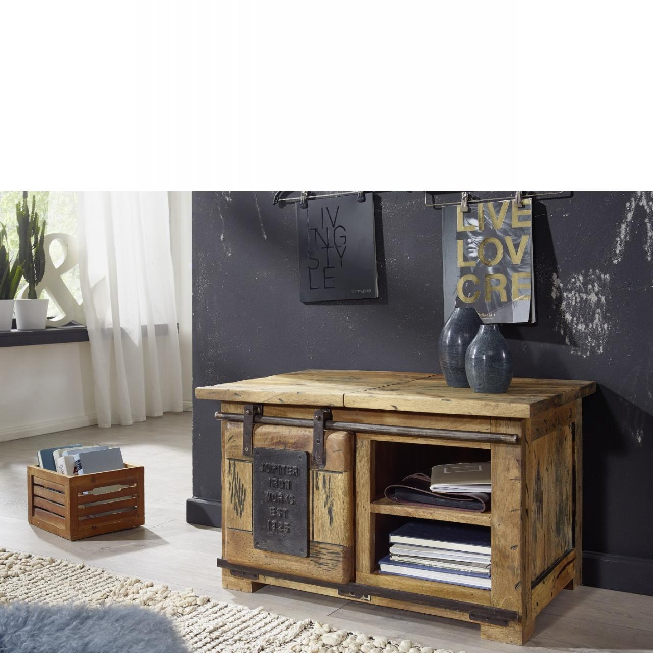 Truhe WZ-0480 Mango Holz massiv rustikal Eisen Rolltür offene Fächer TV Möbel