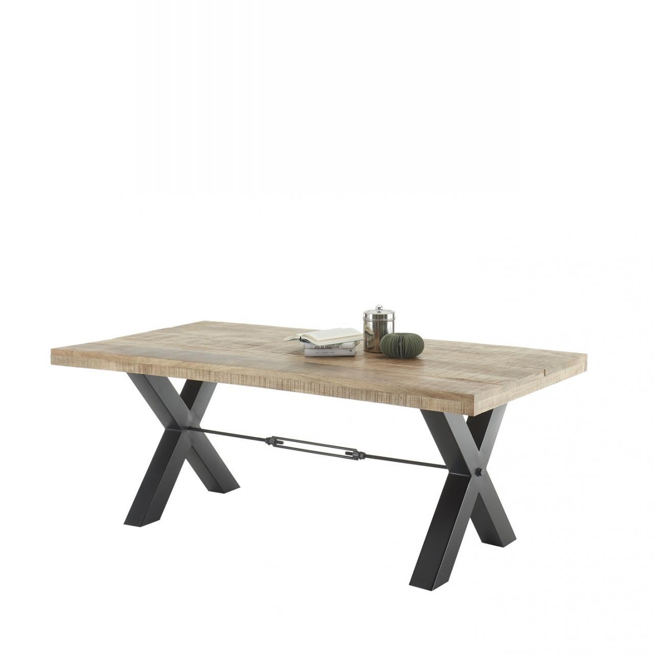 Esstisch Dehli Mango Holz X-Fuß Metall Schwarz Antik Küchentisch Esszimmer Tisch