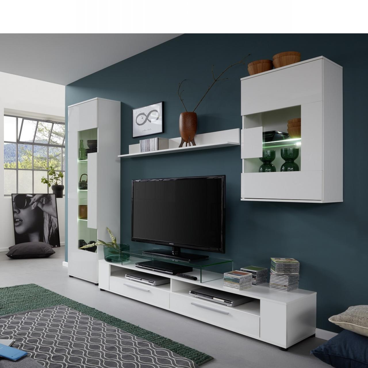 Anbauwand Jump Weiß Weiß Glanz 5-Teilig MDF Schrankwand Wohnzimmer Wohnwand