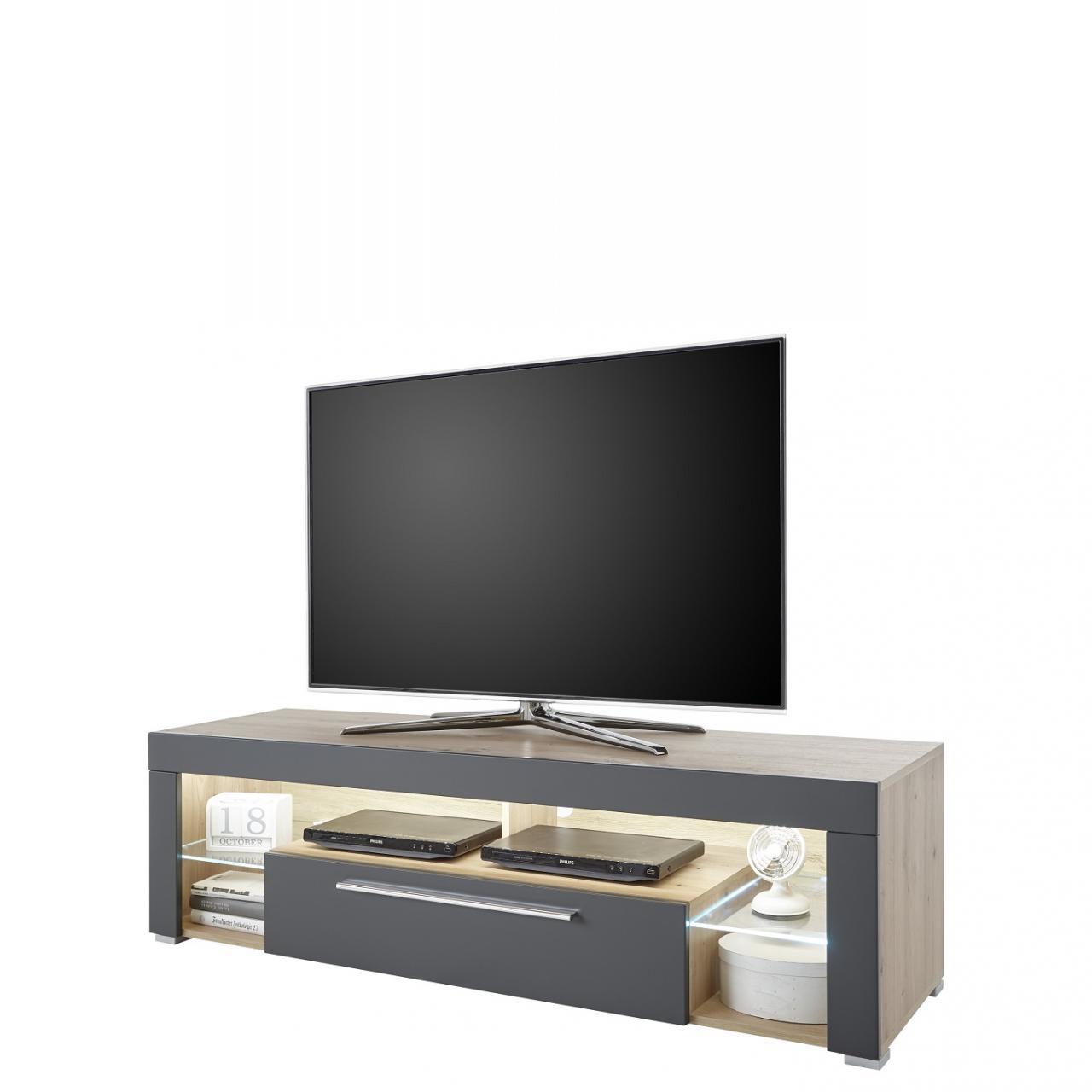 Tv- Lowboard Goal 9 Artisan Eiche Wohnzimmer Fernsehtisch LED Glasböden