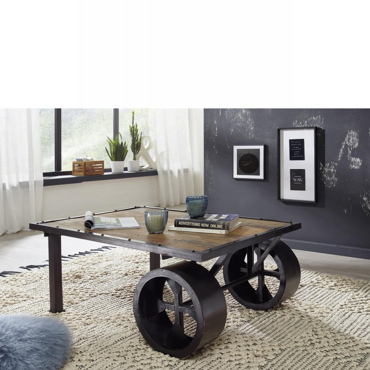Couchtisch WZ-0480 Natur Schwarz Mangoholz Massiv Eisen Stubentisch Tisch