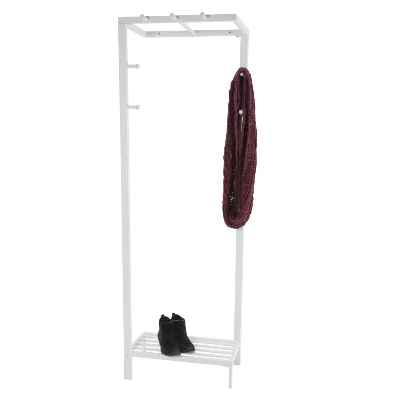 Kleiderständer - Jana, Metall - weiß lackiert, Garderobenständer, Garderobe, Kleiderhaken
