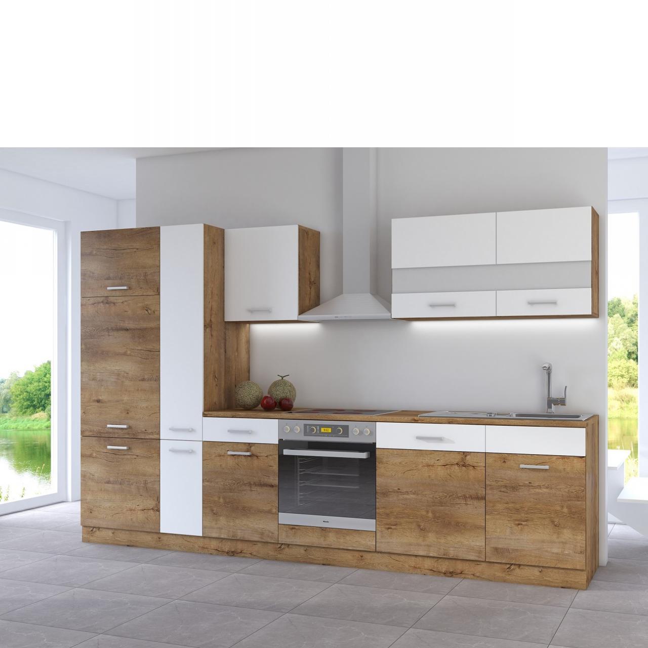 Küche Cora 2 Küchenblock Single-Küche Eiche Lancelot Nb. Weiß Matt  Spanplatte