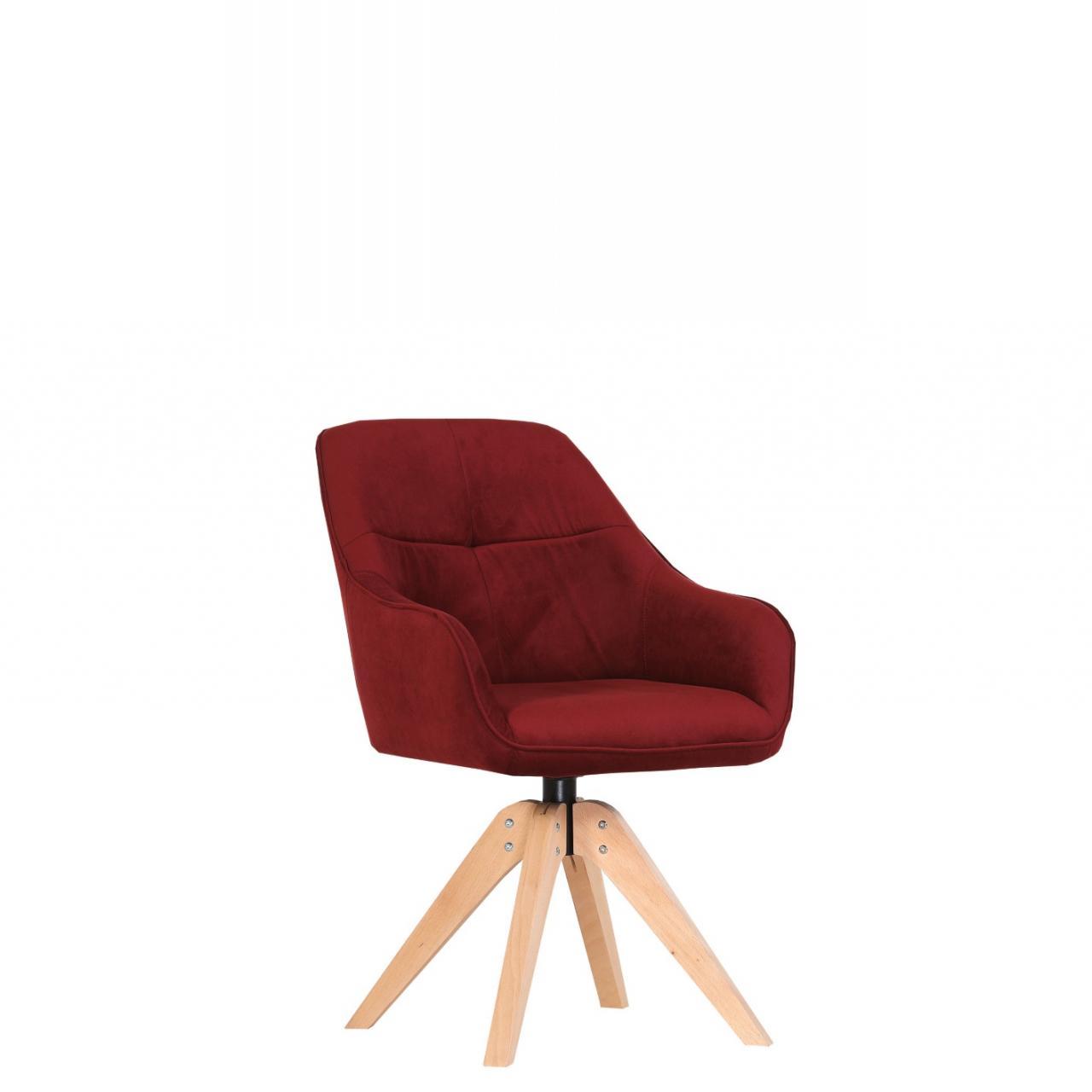 Drehsessel Lazy Rot Stoff Buche Massiv Natur Drehbar Küchenstuhl Stuhl Küche