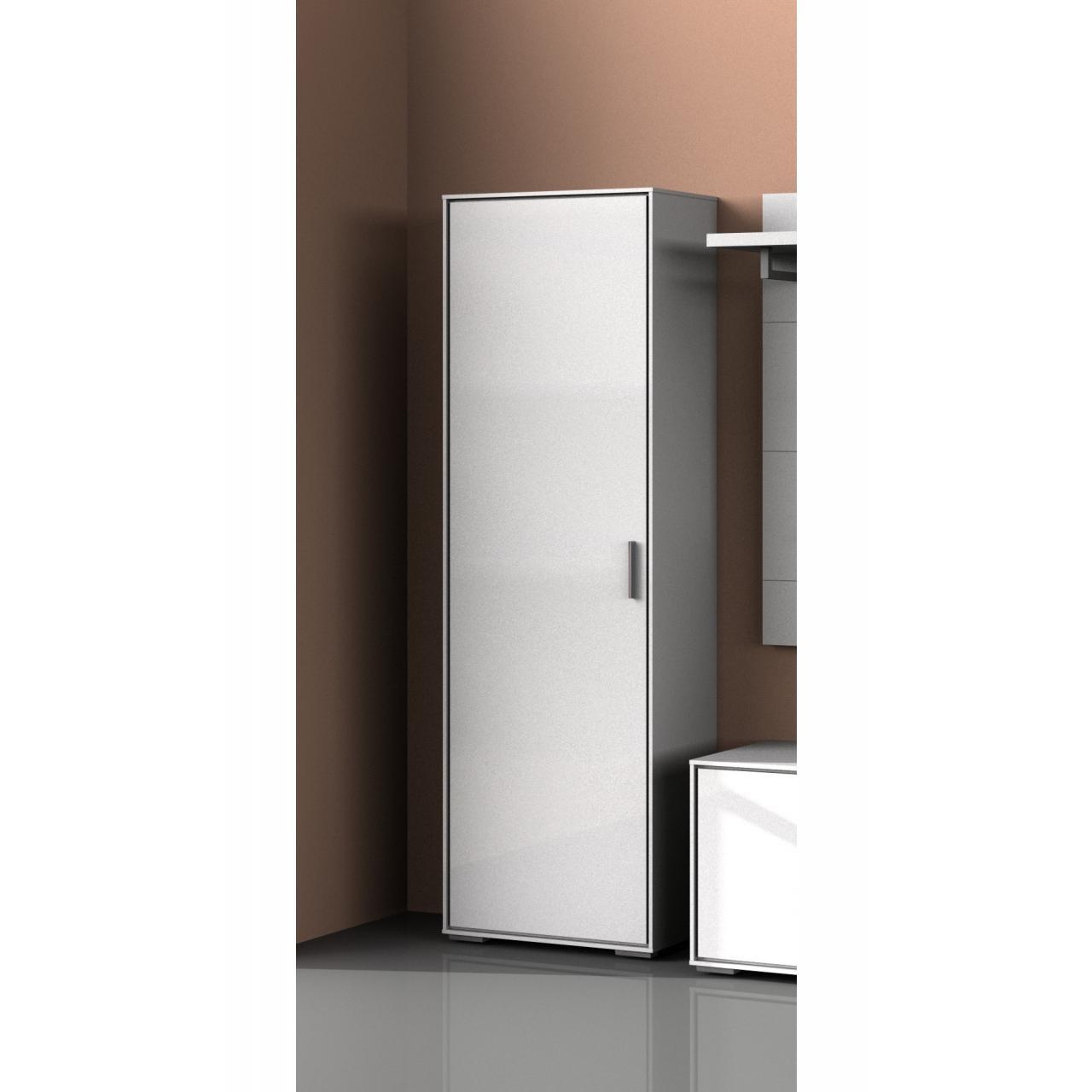 Garderobenschrank Villino Flurschrank Dielenschrank Weiß Hochglanz 61x187x33